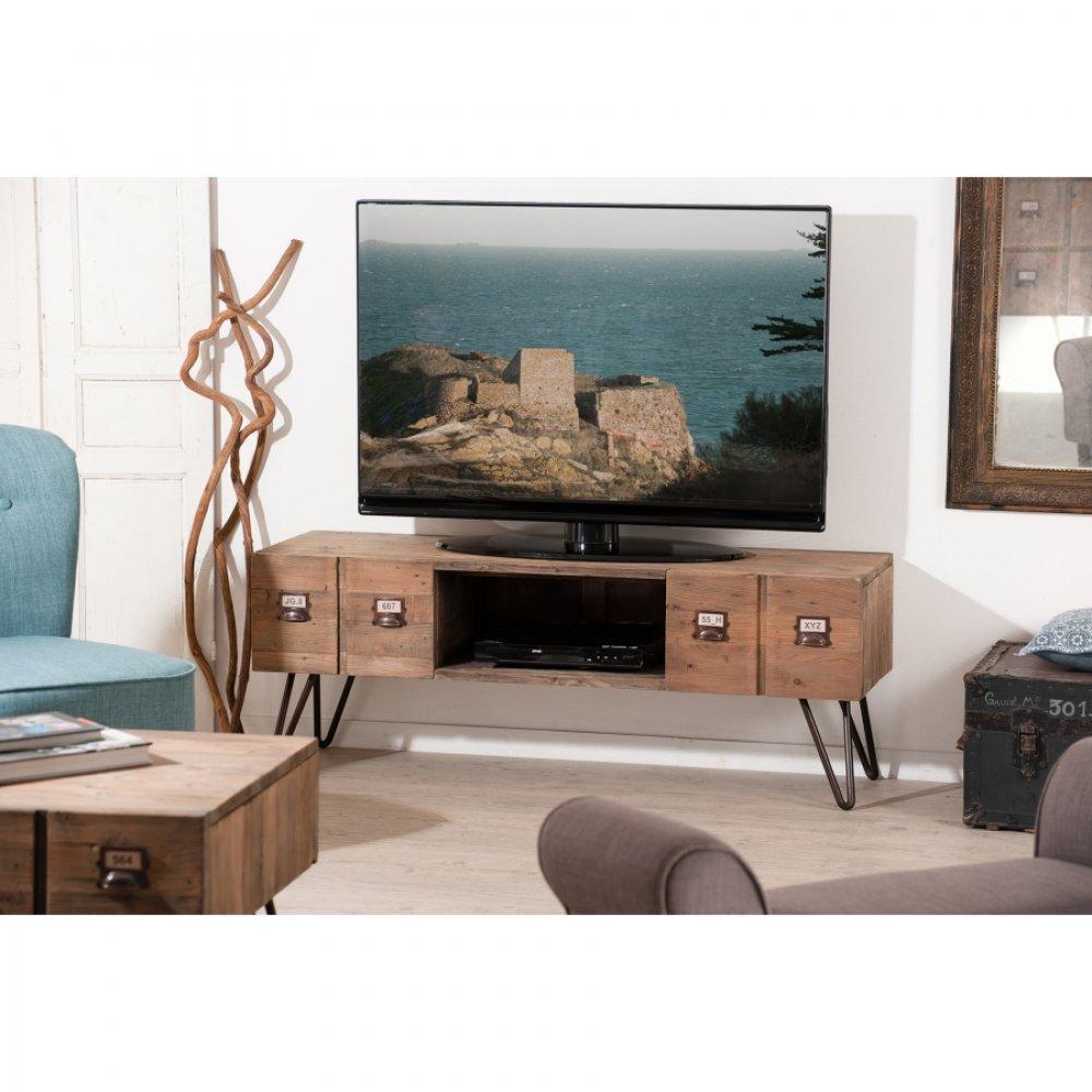 meuble tv blanc 3 tiroirs anna