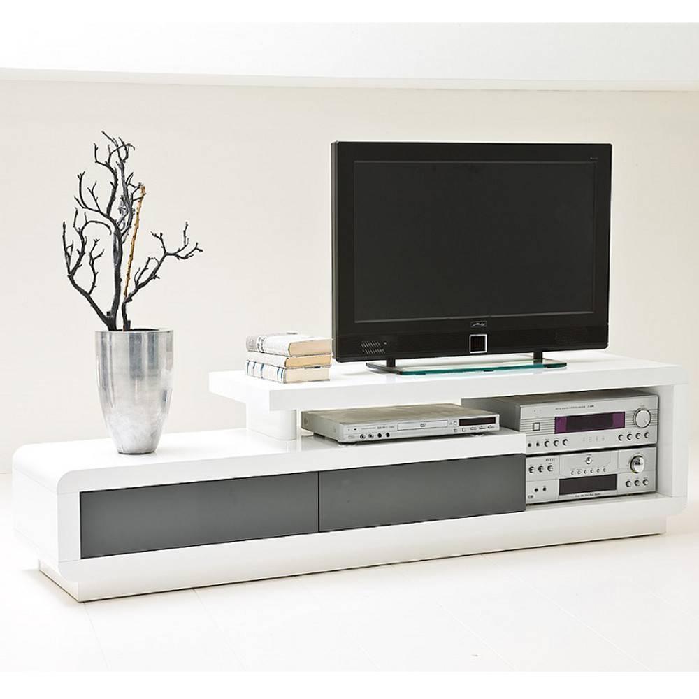 meuble tv design corto 2 tiroirs finition laquee blanc et gris brillant