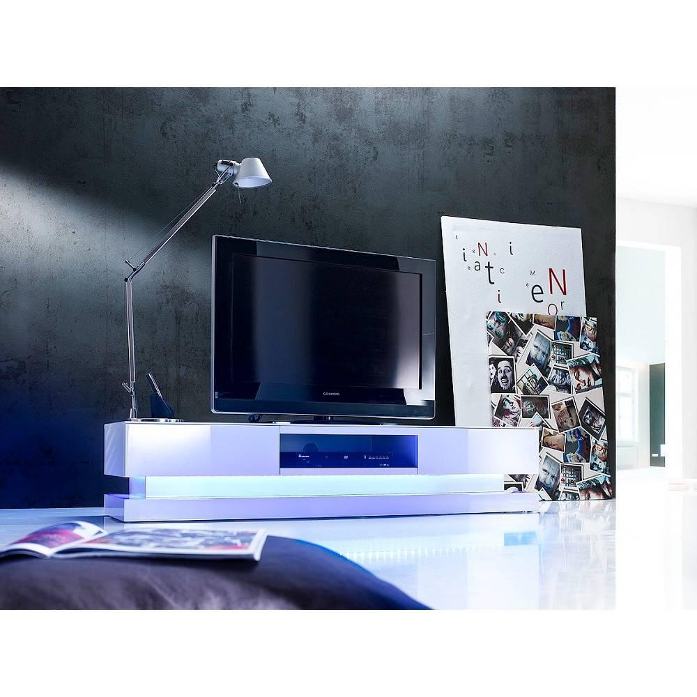 meuble tv design shiva 2 tiroirs laque blanc brillant eclairage led integre