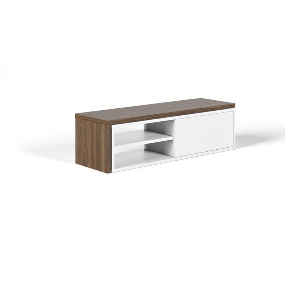 meuble tv modulable move blanc et noyer avec1 porte coulissante