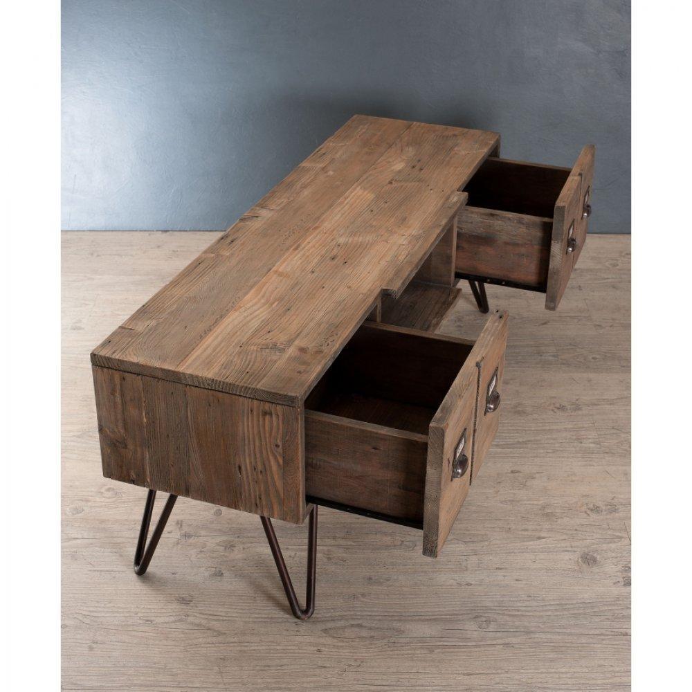 meuble tv au style industriel octave en pin 2 tiroirs