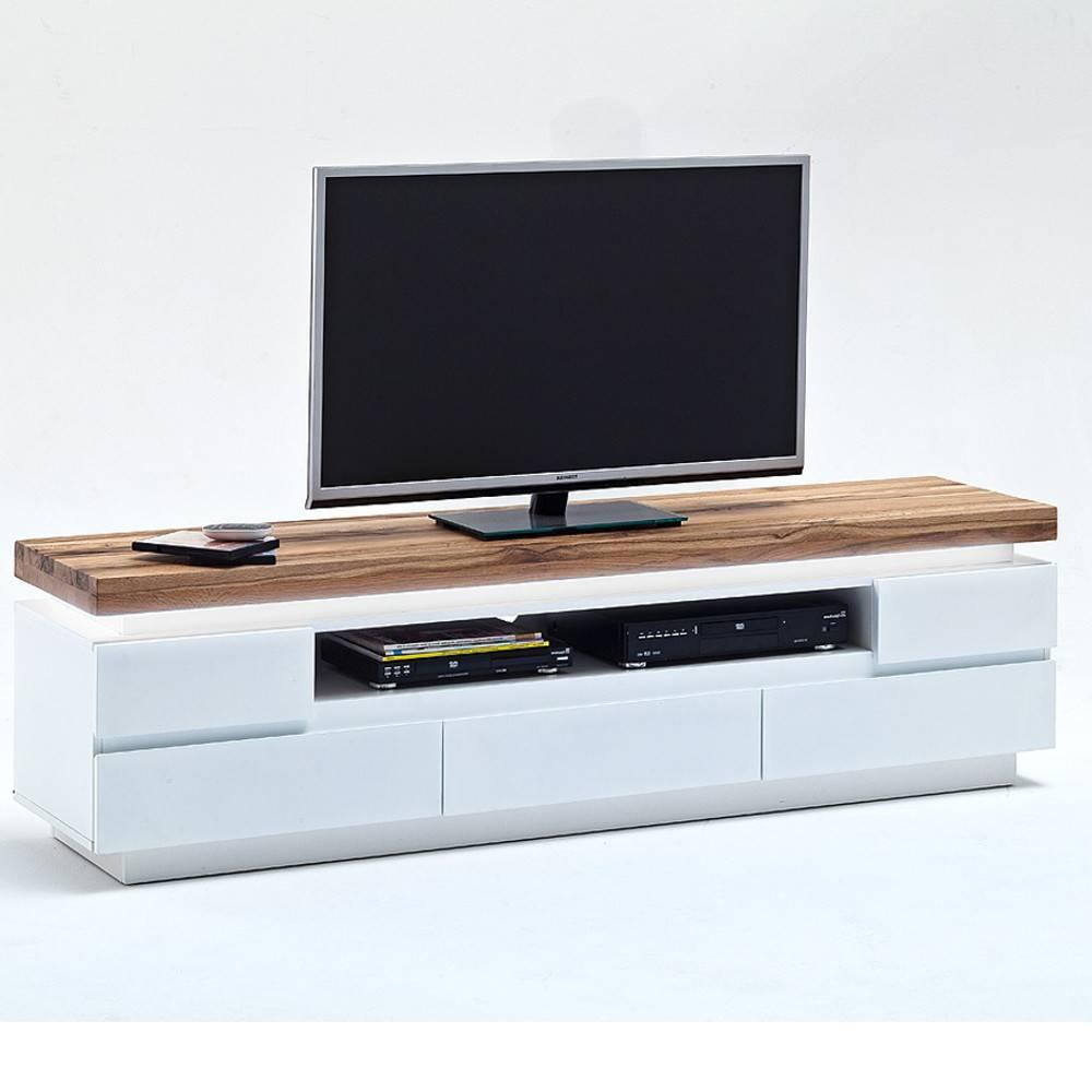 meuble tv romina 5 tiroirs structure laquee blanc mat plateau chene noueux huile