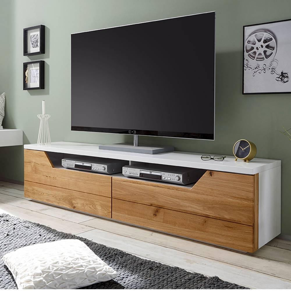 meuble tv design farina finition laque blanc mat 2 tiroirs facade chene noueux