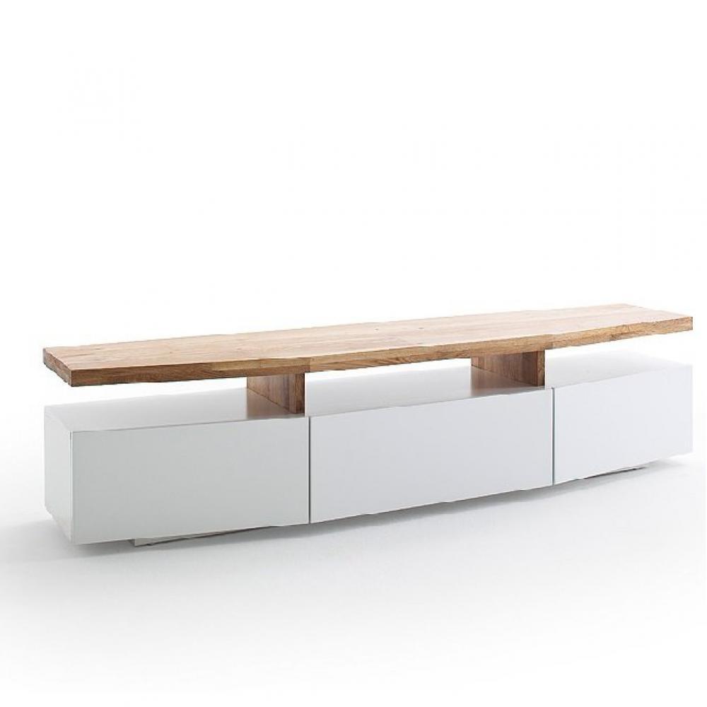 meuble tv sigmund 180 cm laque blanc mat plateau chene massif