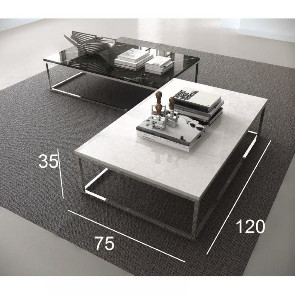 prairie table basse rectangulaire en marbre blanc pietement metal chrome