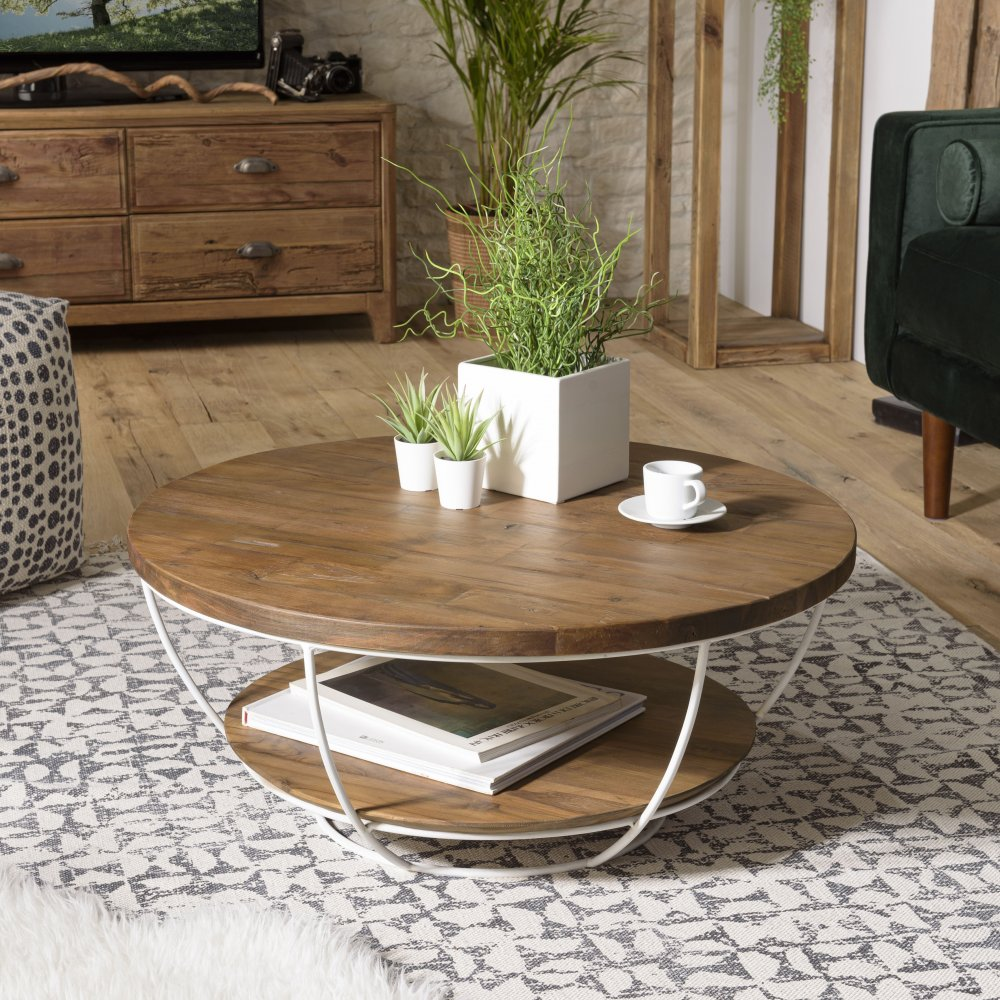 table basse scandinave ronde double plateau en bois finition teck recycle pied blanc