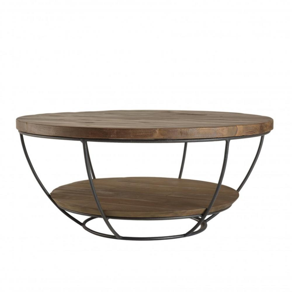 table basse scandinave ronde double plateau en bois finition teck recycle