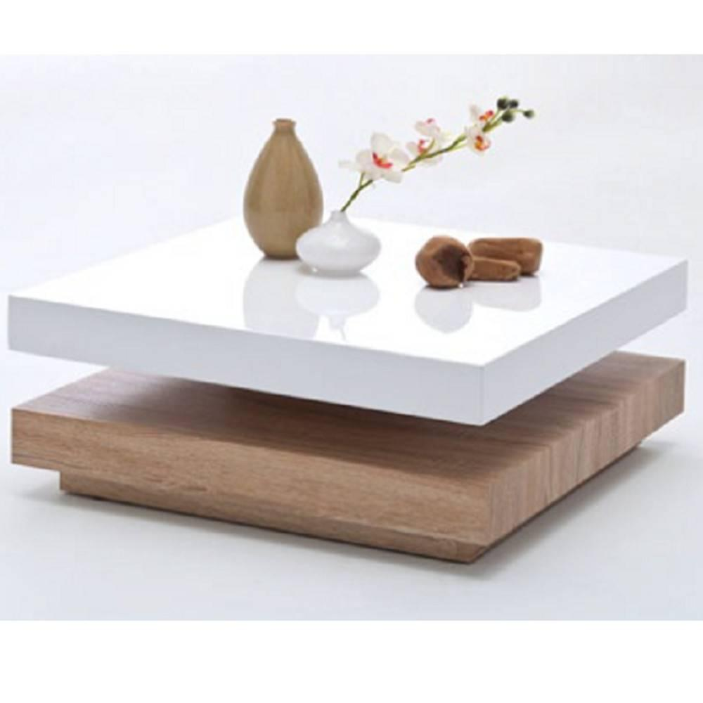 table basse design hubic blanche mate