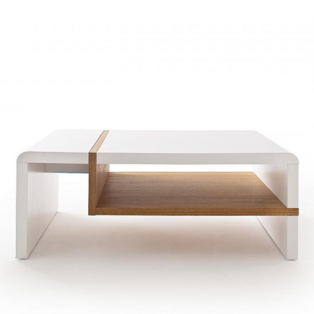 table basse rodrig blanc laque mat et tablette placage chene 100 x 70 cm