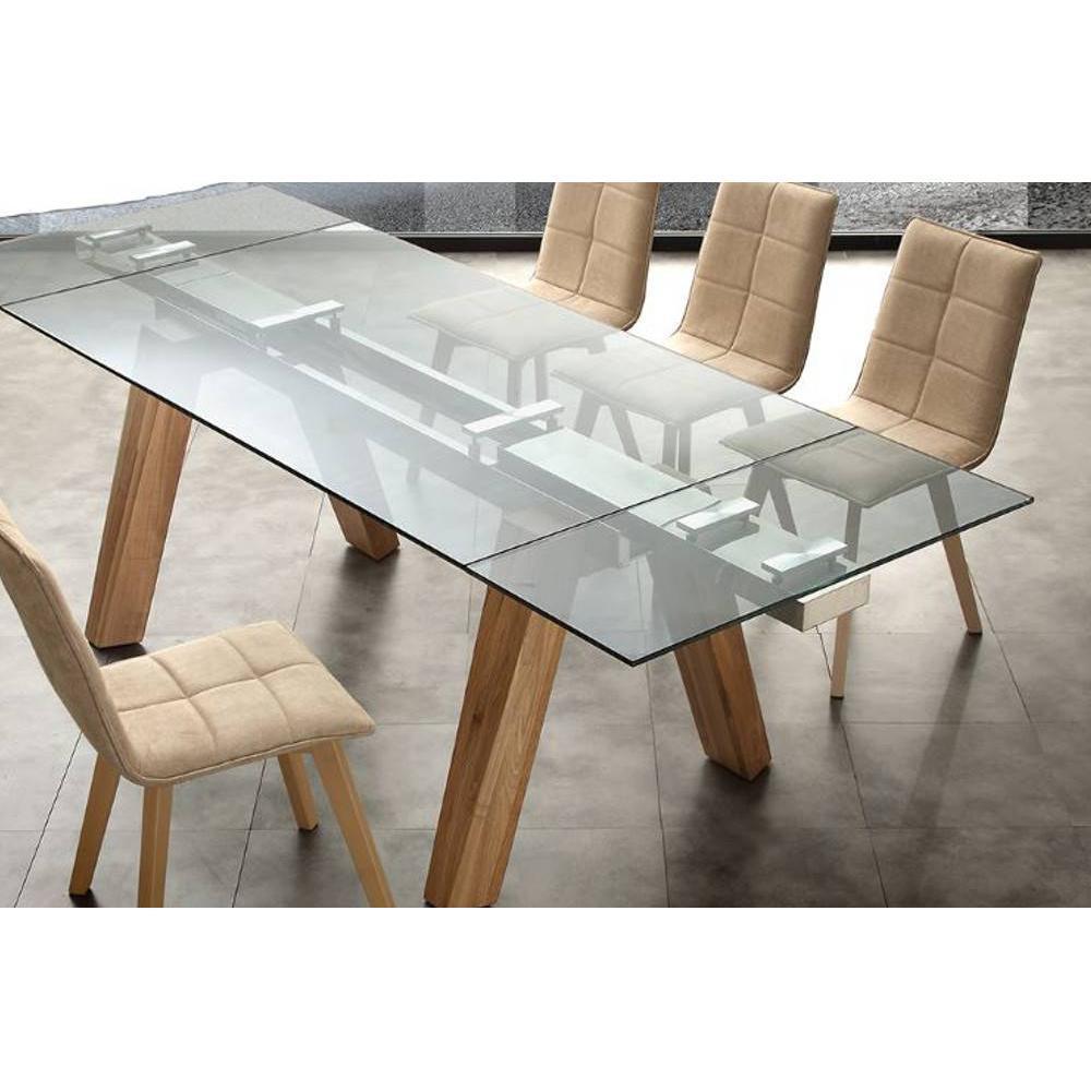 table repas extensible designa plateau en verre pietement bois naturel massif