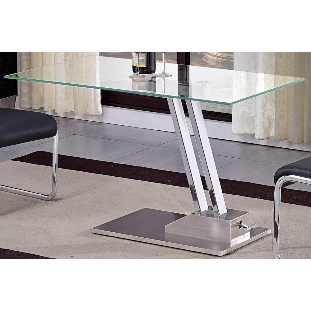 table basse relevable step en verre transparente structure chromee