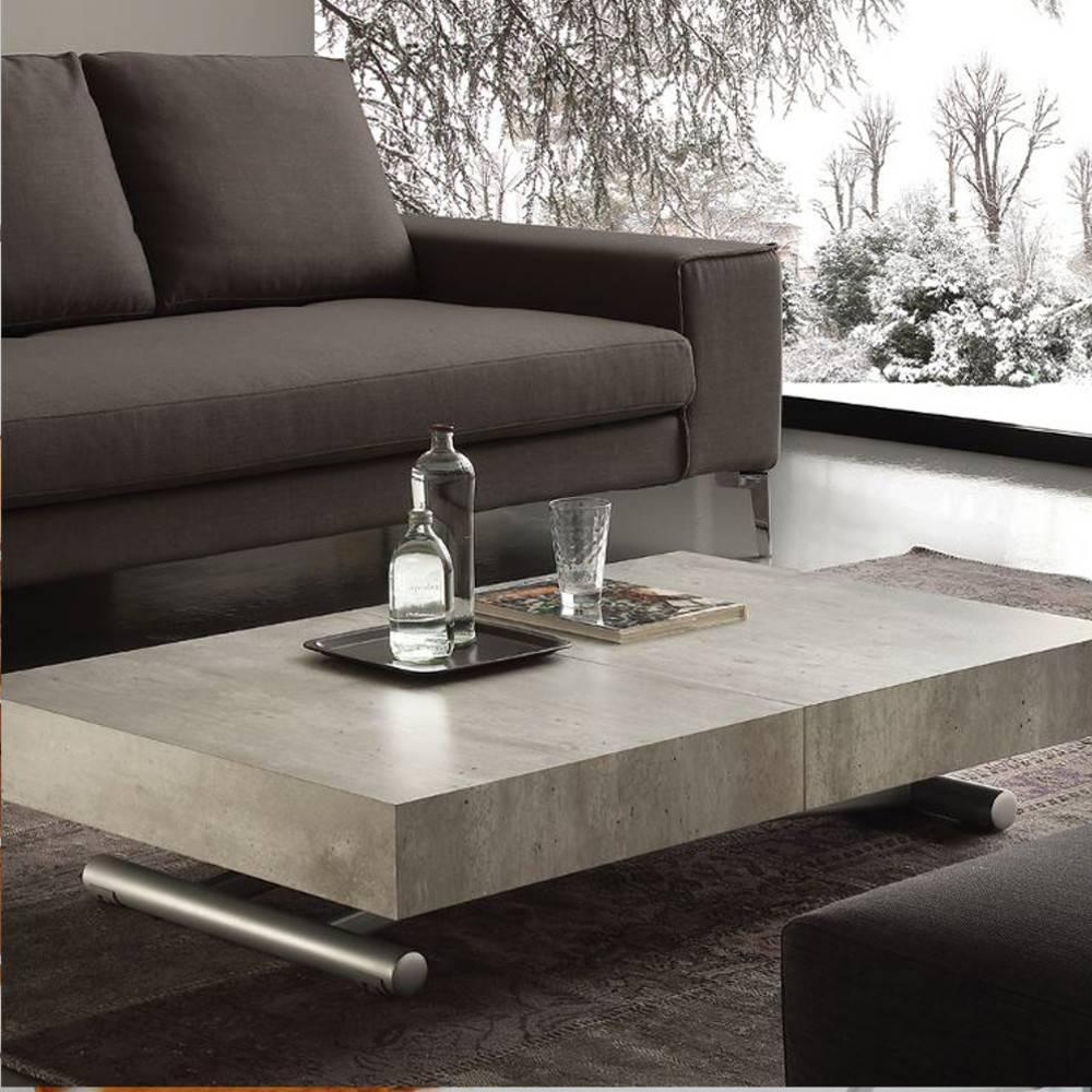 table basse relevable extensible block design ciment aspect vieilli