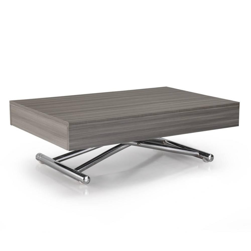 table basse relevable cube chene gris extensible 10 couverts pietement chrome