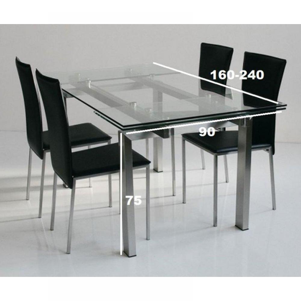 table repas extensible new york plateau verre trempe pietement acier brosse 160 x 90 cm