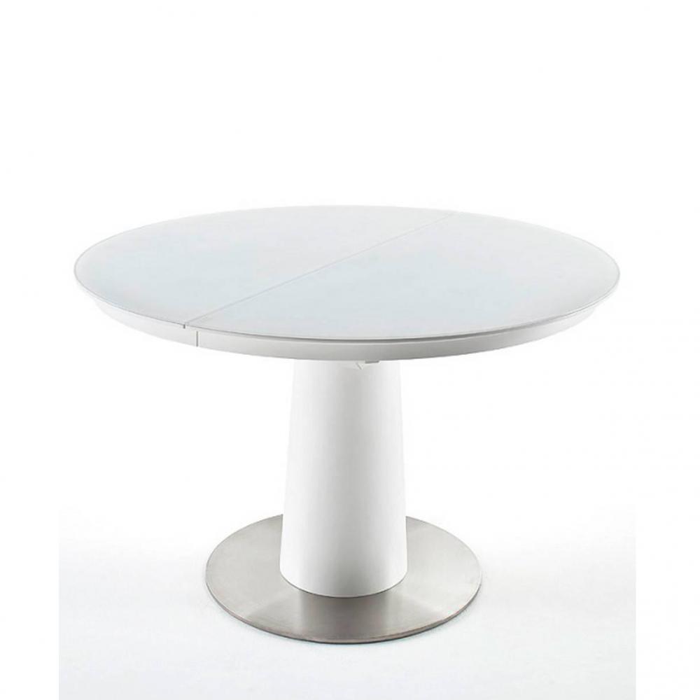 table ronde extensible design wiem blanc laque mat diametre 120 cm