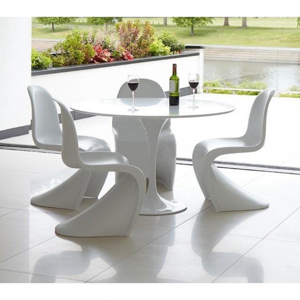 table ronde de repas design tulipe laquee blanc 120 cm