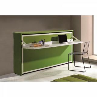 armoire lit transversale city avec bureau couchage 90 190cm