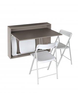 bureau table extensible mural gris taupe avec 3 chaises integrees blanche