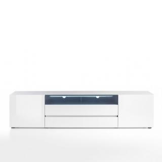 meuble tv verona 203 cm laque blanc brillant 2 portes 2 tiroirs 1 niche