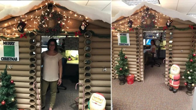 Woman Turns Her Work Cubicle Into A Festive Log Cabin For