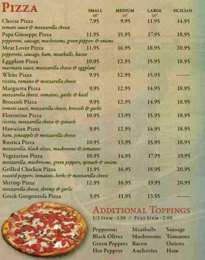 Menu for Papa Giuseppe Pizza (660 Linton Blvd Delray Beach
