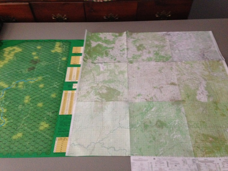 At left is the 1990 map. To the right is a cobbled-together shrunk-down version of nine 1:50,000 base maps i was using to test size and scale