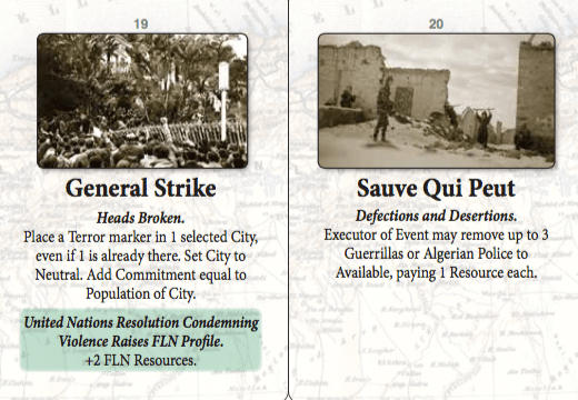 General Strike and Suave Qui Peut Event Cards from Colonial Twilight.