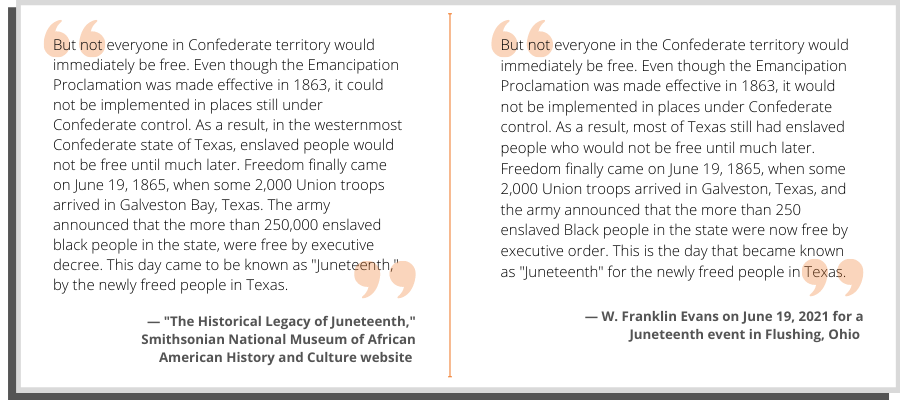 A side-by-side comparison of Evans' words and text from the Smithsonian website.