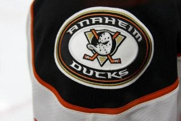 Anaheim Ducks shoulder patch on a player's jersey