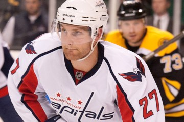 Capitals' defensemen Karl Alzner during  the September 29th 2010 game. The Bruins lost 1-4 to the Capitals. (Inside Hockey/ Brian Fluharty)