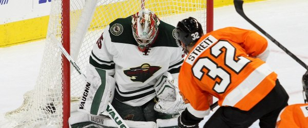 Defenseman Mark Streit (#32) of the Philadelphia Flyers buries the puck into the back of the net past Goalie Darcy Kuemper (#35) of the Minnesota Wild