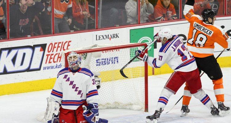Left Wing R.J. Umberger (#18) of the Philadelphia Flyers celebrates a goal scored against Goalie Cam Talbot (#33) of the New York Rangers