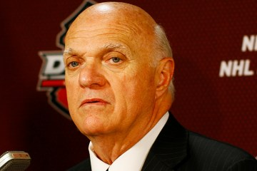 Lou Lamoriello  speaks at the 2013 NHL Entry Draft at the Prudential Center in Newark, New Jersey. (Brandon Titus/Inside Hockey)