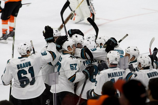 Members of the San Jose Sharks celebrate their win over the Philadelphia Flyers