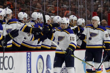 Center Robby Fabbri (#15) of the St Louis Blues gets high-fives from the bench during the first period