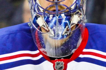 Henrik Lundqvist (NYR - 30) awaits the faceoff.