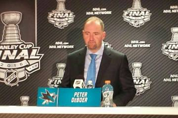Peter DeBoer addresses the media following Sharks vs. Penguins Game 3 of Stanley Cup Final on June 4, 2016 at SAP Center.