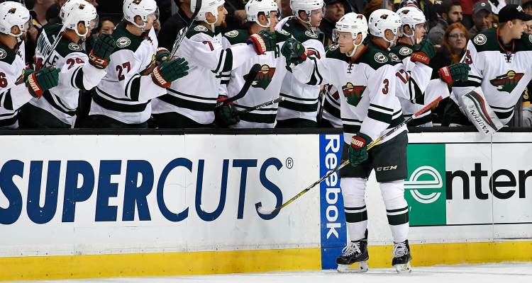 Oct 25, 2016; Minnesota Wild center Charlie Coyle (3) celebrates his second period goal during a NHL game against the Boston Bruins. Credit: Brian Fluharty-Inside Hockey.