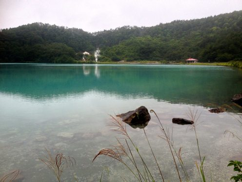 Naruko's Katanuma Lake on a cobalt blue day.