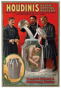Wonderful Poster Promoting Harry Houdini's Incredible Milk Can Escape - Failure Means a Drowning Death