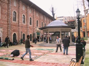 Check out the action in courtyard of the Arab Mosque