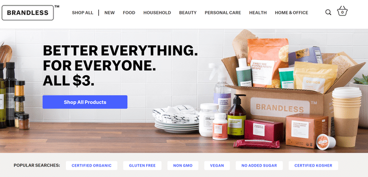 Brandless one-price grocery retail model