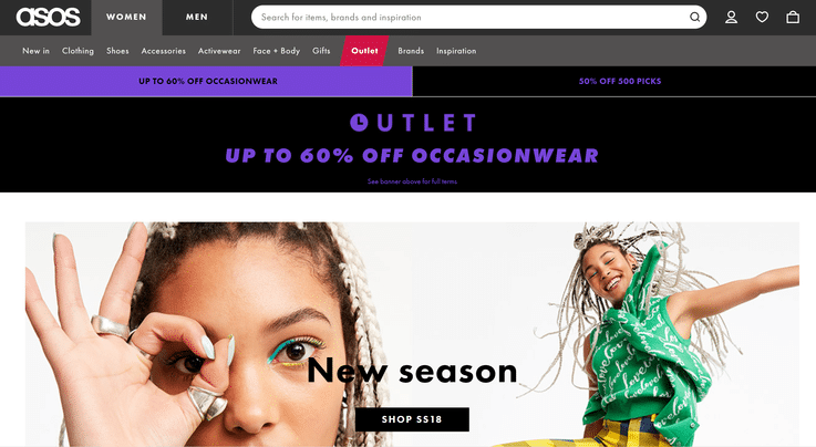 Asos UK ecommerce retail