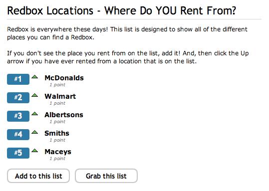 Add/Vote for Redbox Locations