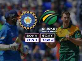 India's tour of South Africa on SONY TEN 1, SONY TEN 3