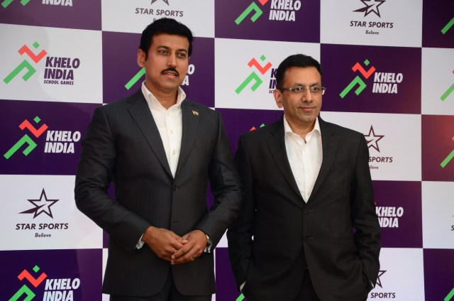 Sports Minister RVS Rathore (left) with Sanjay Gupta, Managing Director, Star India (right) - InsideSport