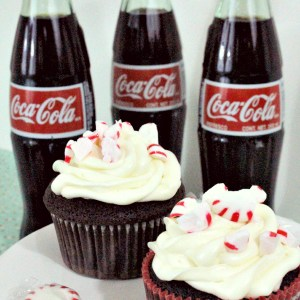 Coca-Cola Chocolate Cupcakes with Peppermint Cream Cheese Frosting