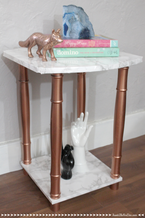 This side table is so chic you'd think she picked it up at a high end store!