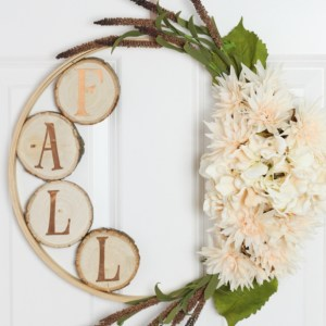 Fall Embroidery Hoop & Wood Slice Wreath