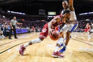 Justin Blackmon Jr. (left) and the Hoosiers were eager to get back on track from their loss to Fort Wayne (Photo courtesy of insidethehall.com)